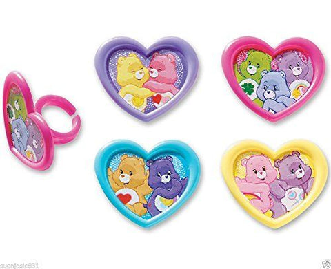 12 Care Bears Heart Cupcake Topper Rings
