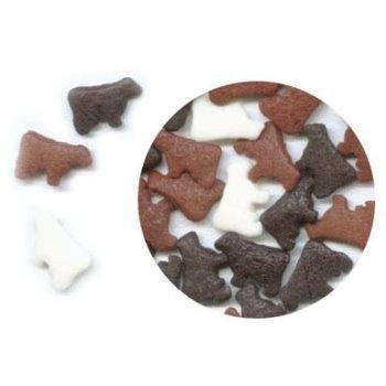 White, Black and Brown Cow Edible Sugar Quin Sprinkles Cake Decorations