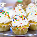 24 Diamond Ring Clear Cupcake Topper Picks