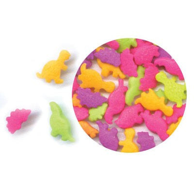Multi-Colored Bright Dinosaur Edible Sugar Quin Sprinkles Cake Decorations