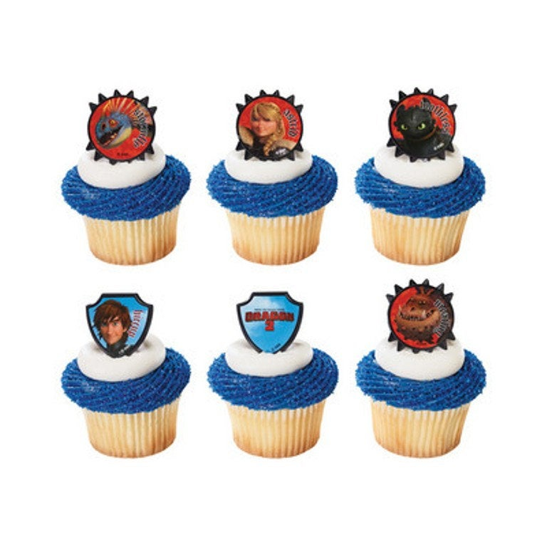 24 How to Train Your Dragon Cupcake Topper Rings