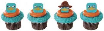 12 Phineas and Ferb Agent P Faces Cupcake Topper Decor Rings