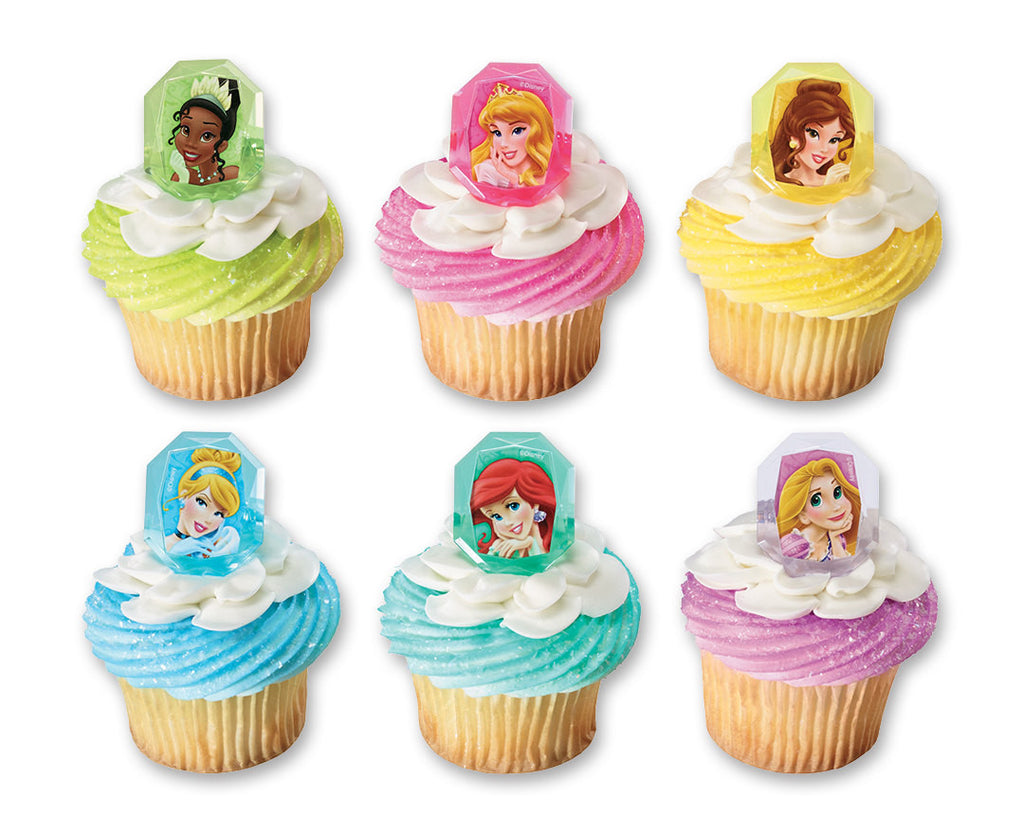 32 Disney Princess Gemstone Cupcake Topper Rings