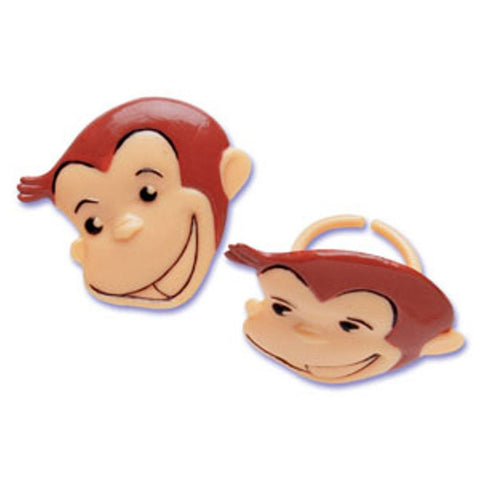 24 Curious George Face Cupcake Topper Rings