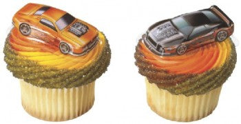 12 Hot Wheels Car Cupcake Plac Toppers