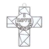 I Love Jesus Cross Suncatcher