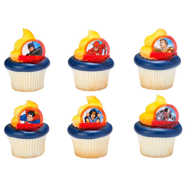 24 Justice League™ Brave & Bold Cupcake Rings Cake Decor Toppers Birthday Party Supplies