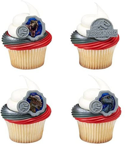 24 Jurassic World Fallen Kingdom They Were Here First Cupcake Topper Rings