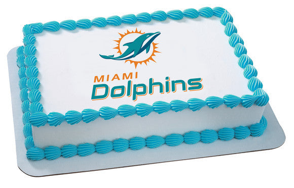 Nfl Miami Dolphins Edible Icing Sheet Cake Decor Topper Bling Your Cake