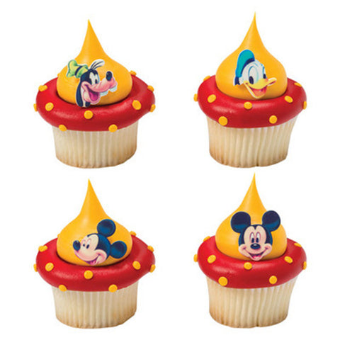 12 Assorted Disney Mickey Mouse, Donald Duck and Goofy Printed SugarSoft Edible Cake & Cupcake Topper Decorations