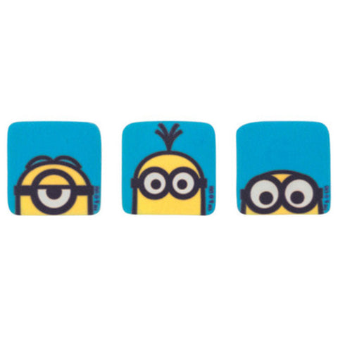12 Assorted Minion, Stuart, Kevin and Bob Printed SugarSoft Edible Cake & Cupcake Topper Decorations