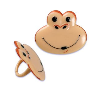 24 Monkey Face Cupcake Topper Rings