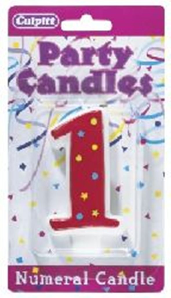 Numeral 1 Stars & Dots Candle