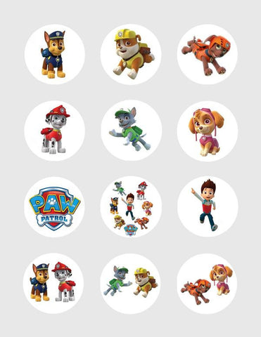 Paw Patrol Character Edible Icing Cupcake Decor Toppers - PP1