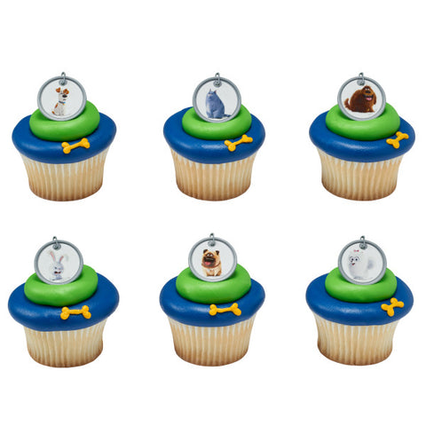 24  Secret Life of Pets Dog Tag Cupcake Topper Rings