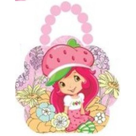 Strawberry Shortcake Tin Box Carry All Flower Purse with Beaded Handle - Pink