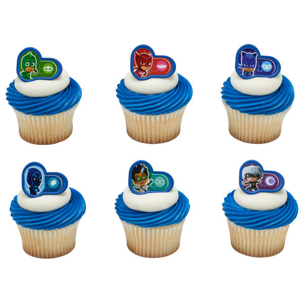 24 Catboy, Owlette, and Gecko PJ Heroes and Villains Cupcake Topper Rings
