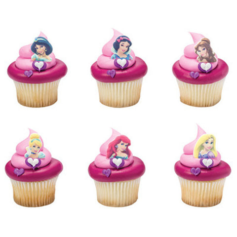 12 Assorted Disney Princess Printed SugarSoft Edible Cake & Cupcake Topper Decorations