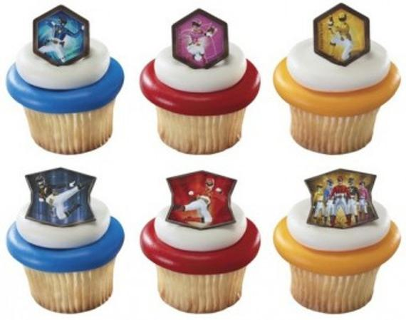 24 Power Rangers MegaForce Cupcake Topper Rings