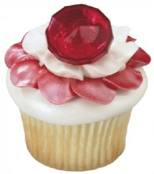 12 Ruby Red Ring Cupcake Rings