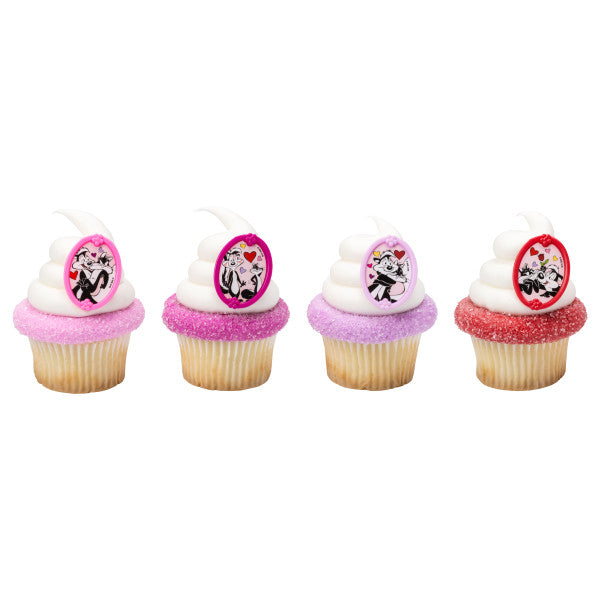 24 Looney Tunes Pepe & Penelope L'Amour Cupcake Topper Rings