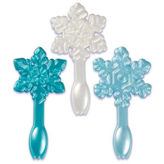 24 Snowflake Spoon Cupcake Topper Picks