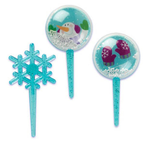 24 Snowglobe and Snowflake Cupcake Topper Picks