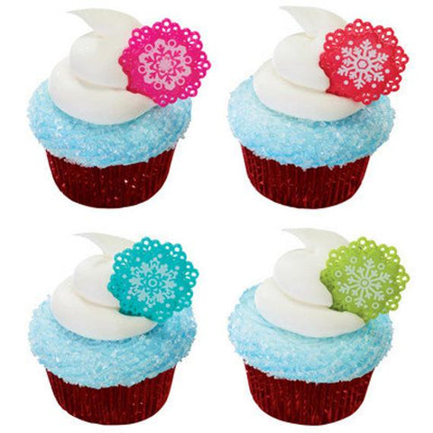24 Bright Snowflake Cupcake Topper Picks