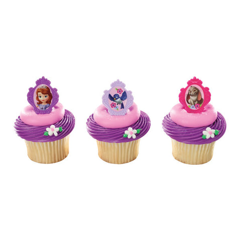 24 Disney Princess Sofia the First Cupcake Topper Rings