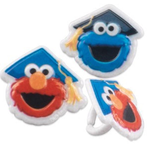 23 Sesame Street Elmo & Cookie Monster Graduation Cupcake Rings
