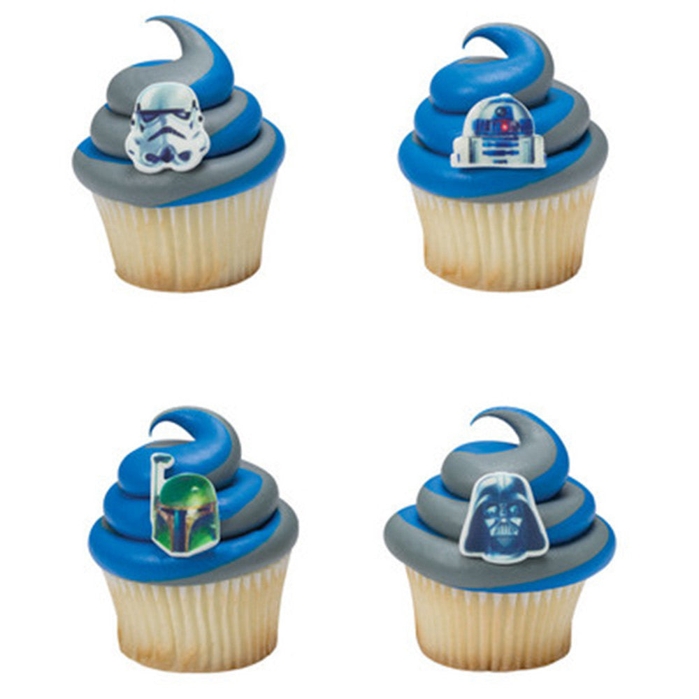 12 Assorted Star Wars Darth Vader, Stormtrooper, R2D2 and Boba Fett Printed SugarSoft Edible Cake & Cupcake Topper Decorations