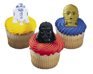 12 Star Wars Darth Vader, C3PO and R2D2 Cupcake Topper Rings