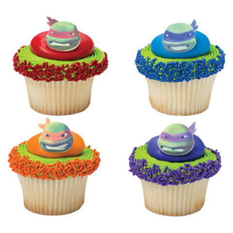 Teenage Mutant Ninja Turtles TMNT Face Edible Cupcake Decor Toppers