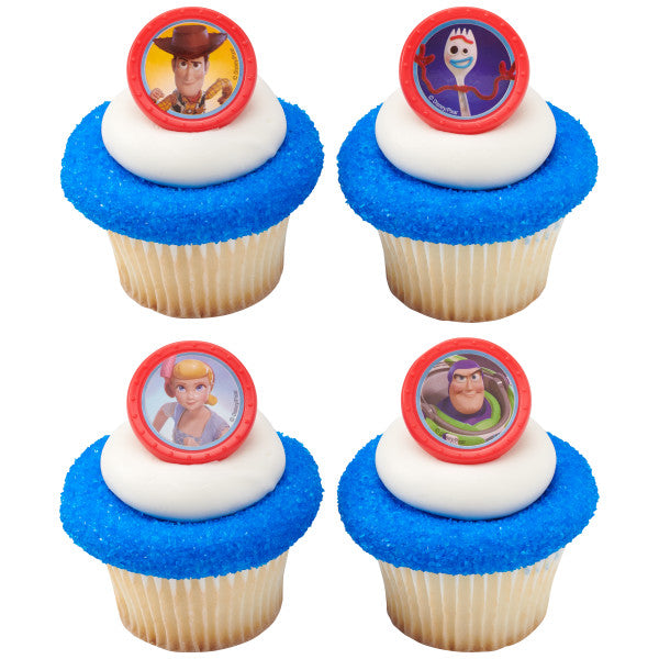 24 Toy Story 4 Toys Play Cupcake Rings Cake Decor Toppers Birthday Party Supplies