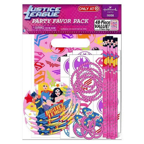 Justice League Superhero Party Favor Pack featuring Wonder Woman, Supergirl, and Batgirl