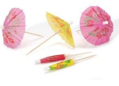 Colorful Paper Drink Parasols/Umbrellas for Cocktails - Set of 12