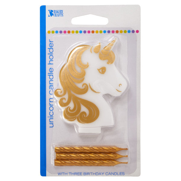 Golden Unicorn Candle Holder Cake Topper