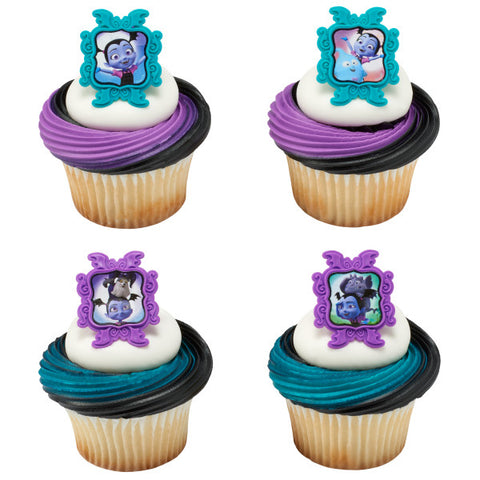 24 Vampirina Sweetly Vee Cupcake Rings Cake Decor Toppers Birthday Party Supplies