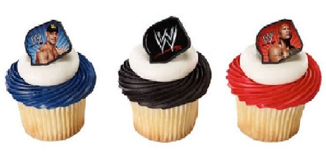 24 WWE Rock and Cena Cupcake Topper Rings