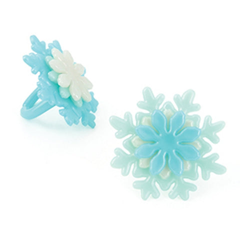 24 Stacked Snowflake Cupcake Topper Rings