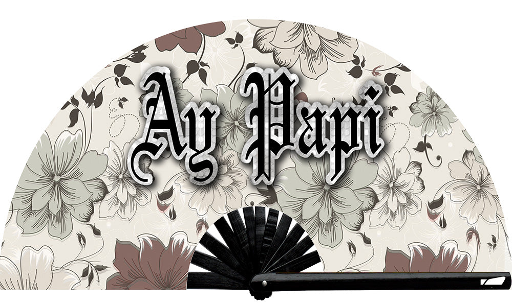 Ay Papi Fan, from Yuppie Boy, by Wear It!  Find your party accessories for your next rave, music festival, circuit party, or night out at the club at Wear It Apparel! The only place for custom hand fans, plastic fans, bamboo fans, and metal hand fans, and the only place for neon & blacklight fans #NowWearIt
