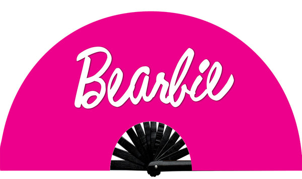 Bearbie fan, from Yuppie Boy, by Wear It!  Blacklight/UV responsive!  Find your party accessories for your next rave, music festival, circuit party, or night out at the club at Wear It Apparel! The only place for custom hand fans, plastic fans, bamboo fans, and metal hand fans, and the only place for neon & blacklight fans #NowWearIt