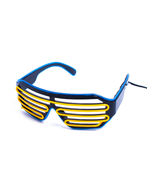 Blue and Yellow Vented Light Up Glasses