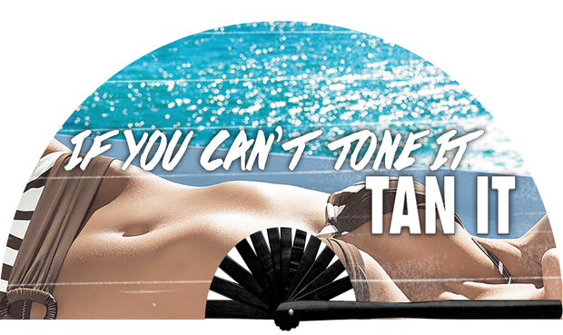 Tone It, Tan It fan, from Yuppie Boy, by Wear It!  Find your party accessories for your next rave, music festival, circuit party, or night out at the club at Wear It Apparel! The only place for custom hand fans, plastic fans, bamboo fans, and metal hand fans, neon parasols, and custom parasols and the only place for neon & blacklight fans and parasols. Clack that fan away. #NowWearIt #Clackthatfan