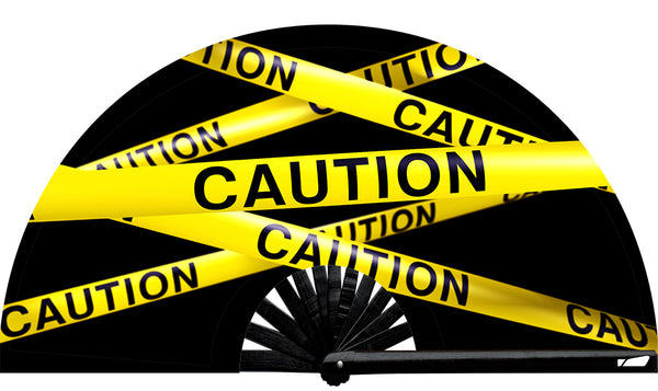 Caution Fan, from Yuppie Boy, by Wear It! Blacklight / UV responsive!  Find your party accessories for your next rave, music festival, circuit party, or night out at the club at Wear It Apparel! The only place for custom hand fans, plastic fans, bamboo fans, and metal hand fans, neon parasols, and custom parasols and the only place for neon & blacklight fans and parasols. Clack that fan away. #NowWearIt #Clackthatfan