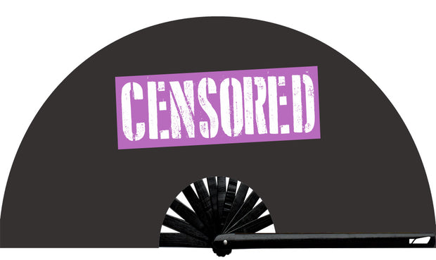 Censored fan, from Yuppie Boy, by Wear It!  Blacklight / UV responsive!  Find your party accessories for your next rave, music festival, circuit party, or night out at the club at Wear It Apparel! The only place for custom hand fans, plastic fans, bamboo fans, and metal hand fans, neon parasols, and custom parasols and the only place for neon & blacklight fans and parasols. Clack that fan away. #NowWearIt #Clackthatfan