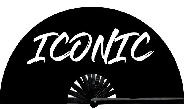 Be iconic like Joanne. Iconic fan, from Yuppie Boy, by Wear It! Blacklight / UV responsive!  Find your party accessories for your next rave, music festival, circuit party, or night out at the club at Wear It Apparel! The only place for custom hand fans, plastic fans, bamboo fans, and metal hand fans, neon parasols, and custom parasols and the only place for neon & blacklight fans and parasols. Clack that fan away. #NowWearIt #Clackthatfan