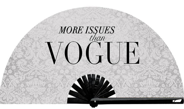 More Issues Than Vogue Fan, from Yuppie Boy, by Wear It!  Find your party accessories for your next rave, music festival, circuit party, or night out at the club at Wear It Apparel! The only place for custom hand fans, plastic fans, bamboo fans, and metal hand fans, neon parasols, and custom parasols and the only place for neon & blacklight fans and parasols. Clack that fan away. #NowWearIt #Clackthatfan