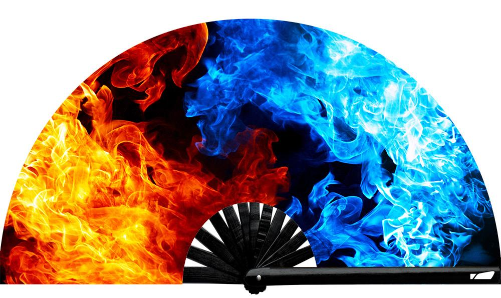 Fire & Ice fan, from Yuppie Boy, by Wear It! Blacklight / UV responsive!  Find your party accessories for your next rave, music festival, circuit party, or night out at the club at Wear It Apparel! The only place for custom hand fans, plastic fans, bamboo fans, and metal hand fans, and the only place for neon & blacklight fans #NowWearIt