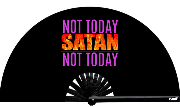 Not today Satan, not today! Not Today Satan fan, from Yuppie Boy, by Wear It!! Blacklight / UV responsive! Find your party accessories for your next rave, music festival, circuit party, or night out at the club at Wear It Apparel! The only place for custom hand fans, plastic fans, bamboo fans, and metal hand fans, and the only place for neon & blacklight fans #NowWearIt